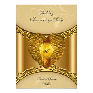 50.o Corazón de oro del oro elegante de la fiesta Comunicados Personalizados