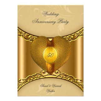 50 o Corazón de oro del oro elegante de la fiesta Comunicados Personalizados