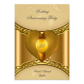 50.o Corazón de oro del oro elegante de la fiesta Invitación 11,4 X 15,8 Cm