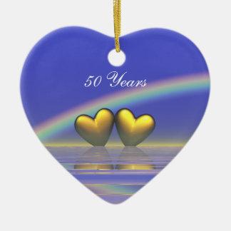 50.o Corazones de oro del aniversario Adorno De Cerámica En Forma De Corazón