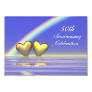 50.o Corazones de oro del aniversario Invitación 12,7 X 17,8 Cm