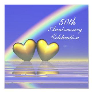 50.o Corazones de oro del aniversario Invitación 13,3 Cm X 13,3cm