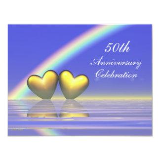 50.o Corazones de oro del aniversario Invitación 10,8 X 13,9 Cm