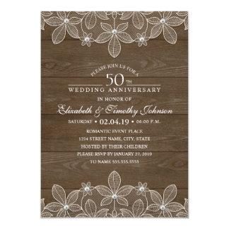 50.o Cordón de madera rústico del país del Invitación 12,7 X 17,8 Cm