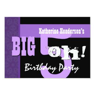 50.o Cumpleaños 5 grandes oh púrpura y negro Invitación 12,7 X 17,8 Cm