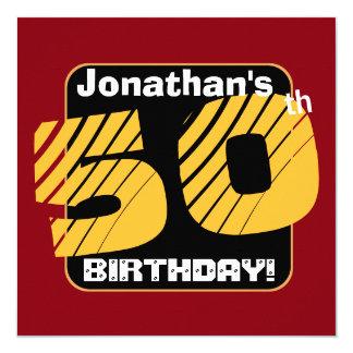50.o Cumpleaños con el número rayado A13 del Invitación 13,3 Cm X 13,3cm