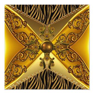 50.o cumpleaños de la cebra de la raya de la joya invitación 13,3 cm x 13,3cm