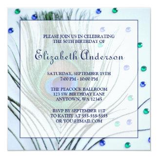 50.o cumpleaños de la pluma atractiva azul del invitación 13,3 cm x 13,3cm