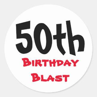 50.o Cumpleaños de la tipografía de la ráfaga el | Pegatina Redonda