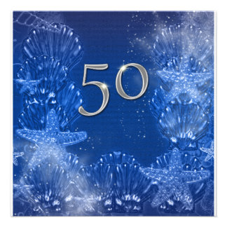 50 o cumpleaños de plata azul tropical invitacion personal
