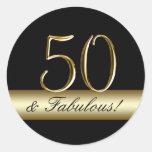 50.o cumpleaños del oro metálico negro etiqueta redonda