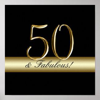 50.o cumpleaños del oro metálico negro póster