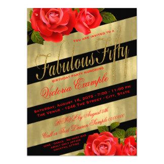 50.o cumpleaños del rosa rojo invitación 16,5 x 22,2 cm