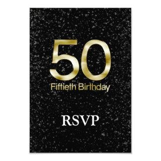 50.o Cumpleaños, encanto negro elegante del oro Invitación 8,9 X 12,7 Cm