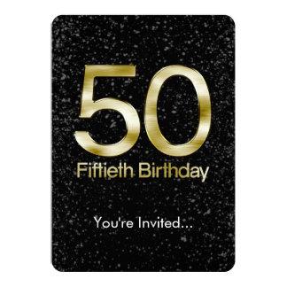 50.o Cumpleaños, encanto negro elegante del oro Invitación 12,7 X 17,8 Cm