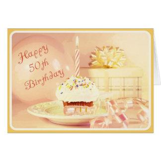 50.o cumpleaños feliz para una mujer del nacido en tarjeta de felicitación