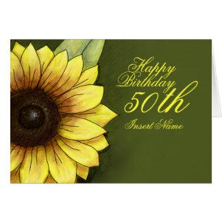 50.o Cumpleaños floral Tarjeta Pequeña