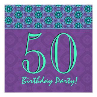 50 o Cumpleaños o cualquier año púrpura y menta V0 Comunicados Personalizados