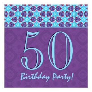 50 o Cumpleaños o cualquier rojo azul V02 púrpura Invitacion Personal