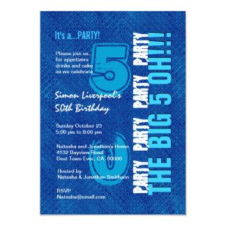 50.o Cumpleaños para él azul real y aguamarina Invitación 12,7 X 17,8 Cm