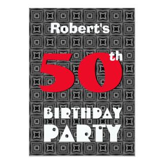 50.o Cumpleaños para él modelo blanco negro A05 Invitación 12,7 X 17,8 Cm