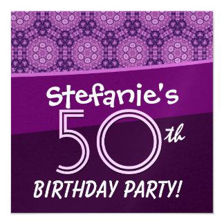 50.o Cumpleaños para su G932 floral púrpura Invitación 13,3 Cm X 13,3cm