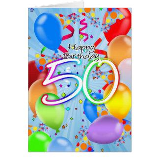 50.o cumpleaños - tarjeta de cumpleaños del globo