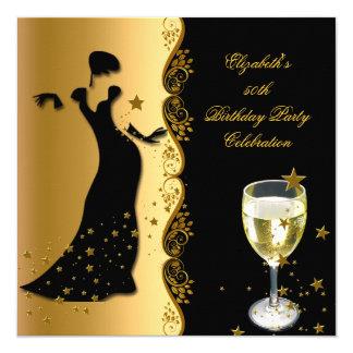 50.o cumpleaños vino del negro del oro de la invitación 13,3 cm x 13,3cm