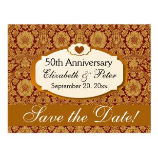 50.o Damasco del oro del aniversario de boda del Postal