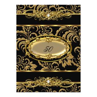 50.o Damasco del oro del negro de la fiesta de Invitación 13,9 X 19,0 Cm