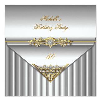 50.o diamante elegante del oro de la plata de la invitación 13,3 cm x 13,3cm