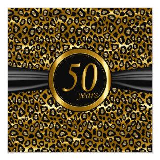 50.o Diseño atractivo exótico del leopardo Invitación 13,3 Cm X 13,3cm