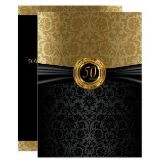 50.o Diseño del damasco del aniversario Invitación 12,7 X 17,8 Cm