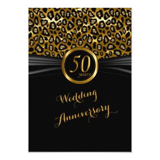 50.o Diseño exótico del leopardo del aniversario Invitación 12,7 X 17,8 Cm