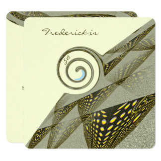50.o Diseño verde y amarillo del cumpleaños Invitación 13,3 Cm X 13,3cm