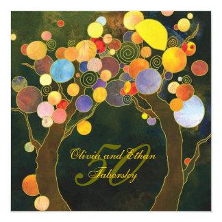 50.o El aniversario de boda de oro invita: Árboles Invitación 13,3 Cm X 13,3cm