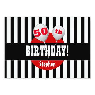 50.o El cumpleaños raya el ROJO NEGRO M01Z de los Invitación 12,7 X 17,8 Cm