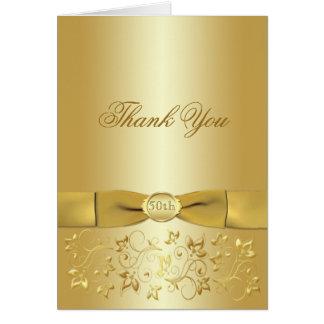 50.o El oro del aniversario floral le agradece Tarjeta Pequeña