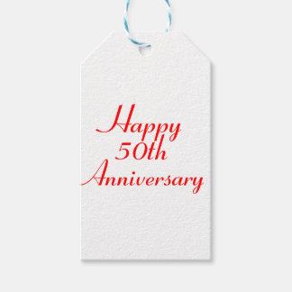 50.o El regalo rojo del texto del aniversario Etiquetas Para Regalos