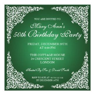 50.o El vintage de la fiesta de cumpleaños remolin Invitacion Personal