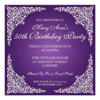 50.o El vintage de la fiesta de cumpleaños remolin Invitaciones Personales