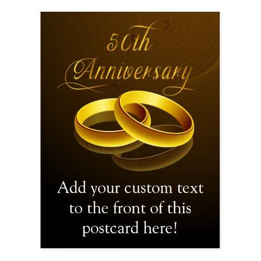 50.o Escritura del oro del aniversario el   Postales