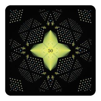50.o Estrella del amarillo del cumpleaños Invitación 13,3 Cm X 13,3cm