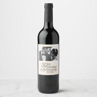 50.o Etiqueta de encargo del vino del aniversario