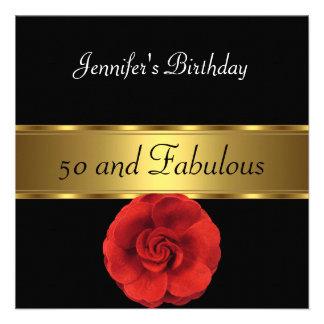 50 o fabuloso del oro rojo de la flor invitación personalizada