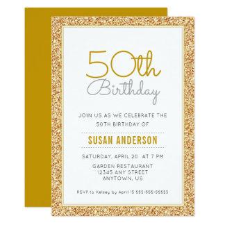 50.o Falso brillo del oro del cumpleaños Invitación 12,7 X 17,8 Cm