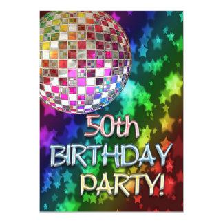 50.o fiesta con la bola de discoteca y el arco invitación 12,7 x 17,8 cm