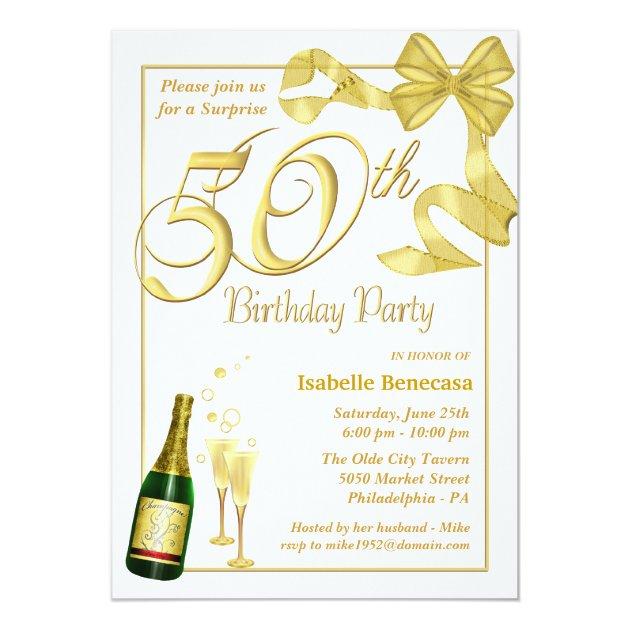 50.o Fiesta de cumpleaños de la sorpresa - Invitación 12,7 X 17,8 Cm