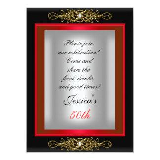 50.o Fiesta de cumpleaños de plata negra roja