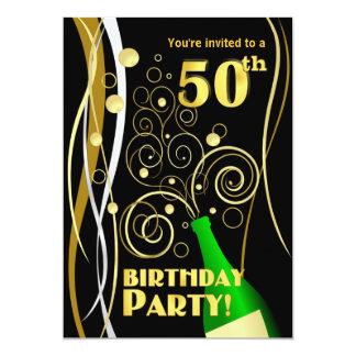 50.o Fiesta de cumpleaños - diversión y Champán Invitación 12,7 X 17,8 Cm
